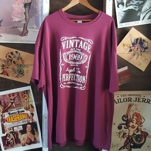 Vintage Shirts - Maroon Vintage Aged To Perfection 3X Mens Tee